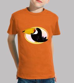 enfant toucan, manches courtes, orange