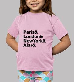 enfants paris, londres, ny, alaro - t-shirt, enfants, rose, manches courtes
