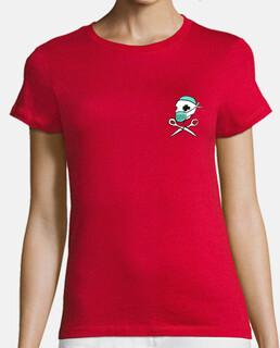 ENFERMERAS Mujer, manga corta, roja, algodón orgánico