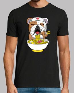 englische Bulldogge die Ramen isst