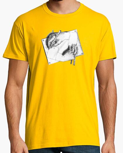 Camiseta Escher. Drawing Hands
