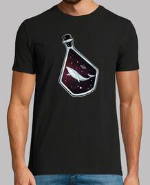espacio onirico - balena en el espacio dentro de una botella