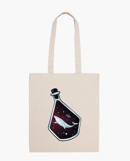 Bolsa espacio onirico - balena en el espacio dentro de una botella