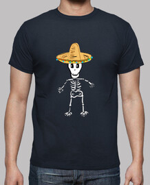 Esqueleto mexicano. Hombre, manga corta, azul marino, calidad extra