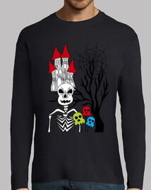 esqueleto y árbol de halloween