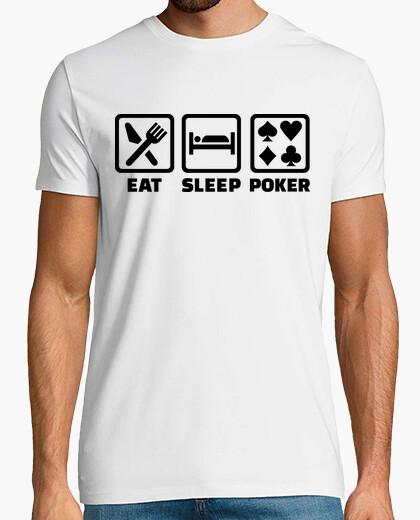 T-Shirt essen schlaf poker
