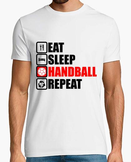 T-Shirt essen schlafen Handball wiederholen