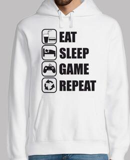 essen, schlafen, spiel, wiederholen
