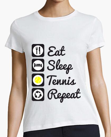 T-Shirt essen, schlafen, tennis, wiederholung