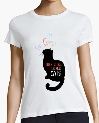 Camiseta esta chica ama gatos