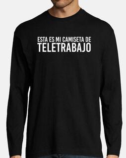 Esta es mi camiseta de teletrabajo meme para hombre manga larga
