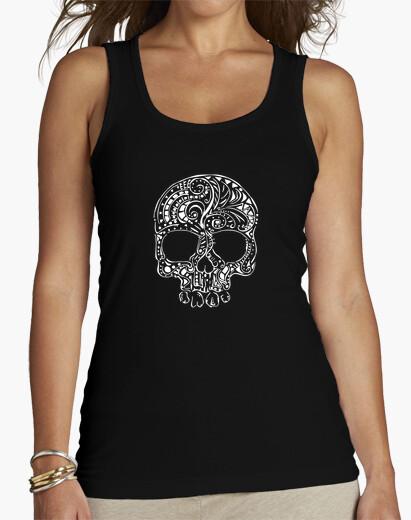 Camiseta estilo del tatuaje tribal del tanque para mujer del cráneo gótico
