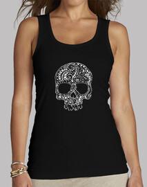 estilo del tatuaje tribal del tanque para mujer del cráneo gótico