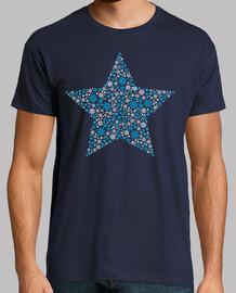 Estrella Copos de Nieve Blanco y Azul