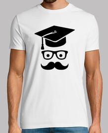 estudiante bigote gorra de la graduación