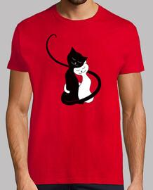 étreindre blancs mignons and chats noirs dans lov