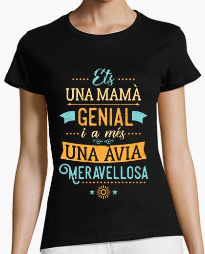 T-shirt ets una mamma grande ia més un'avia meravellosa (cat) una