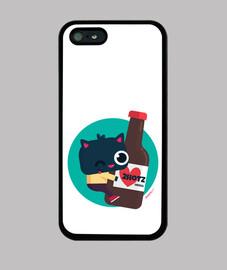 étui iphone 5 / 5s, chat noir avec bière 2hotz (plusieurs formats)