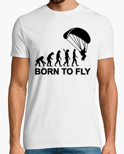 T-Shirt evolution fallschirmspringen geboren um zu fliegen