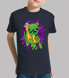 extraterrestre mange une pizza à all h