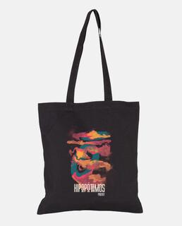 fabric bag, black hippos art