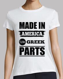 fabriqué en amérique avec des pièces grecques