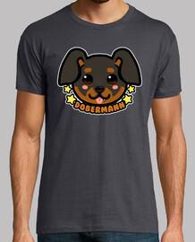 faccia da cane kawaii chibi dobermann - camicia da uomo