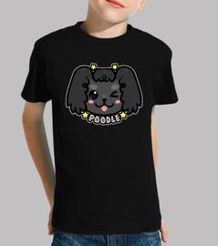 faccia di cane barboncino chibi kawaii - maglietta per bambini