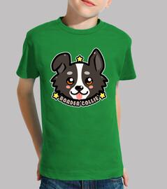 faccia di cane di border collie di kawaii kawaii - maglietta per bambini
