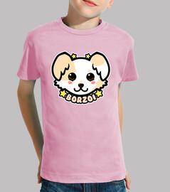 faccia di cane di chibi borzoi di kawaii - camicia di bambini