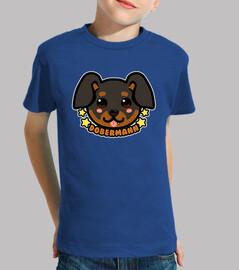 faccia di cane kawaii chibi dobermann - maglietta per bambini