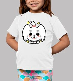 faccia di cane kawaii maltese - maglietta per bambini