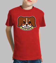 faccia di cane puntatore chibi kawaii - maglietta per bambini