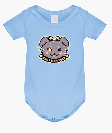 Abbigliamento bambino faccia di gatto piega scozzese di chibi