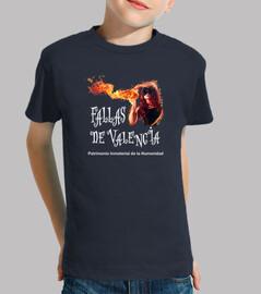 Fallas de Valencia fondo oscuro - Camiseta para niño de manga corta