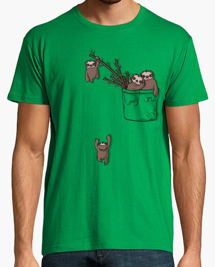 Camiseta familia pereza bolsillo