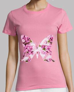 farfalla rosa, fiori le donne, a breve - a maniche t-shirt rosa, qualità premium