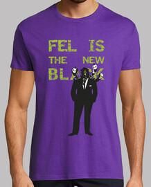 Fel is the new black, Hombre, manga corta, morado, calidad extra
