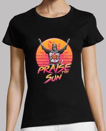 féliciter les femmes de chemise de vague de coucher du soleil