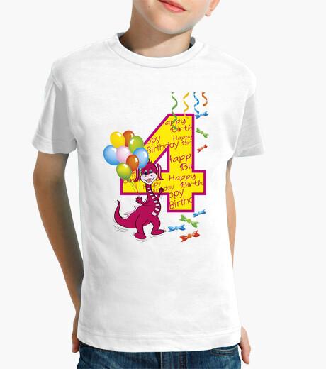 Ropa infantil feliz cumpleaños número 4 dragón