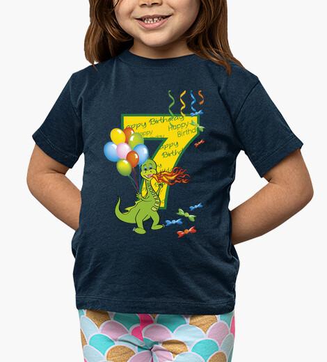 Ropa infantil feliz cumpleaños número 7 dragón