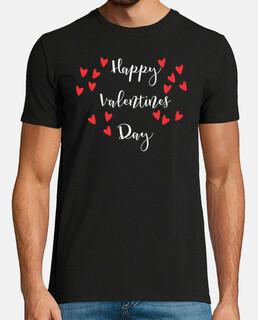 Feliz dia de san valentin. Hombre, manga corta, negra, calidad extra