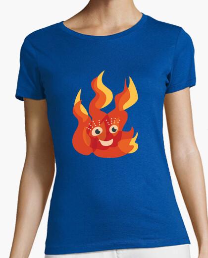 Camiseta feliz quema de carácter llama del fuego