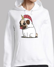 felpa con cappuccio pug cane donna unicorno carlino