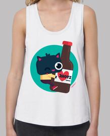 femme, bretelles larges et coupe ample - chat avec bière 2hotz (couleurs variées)