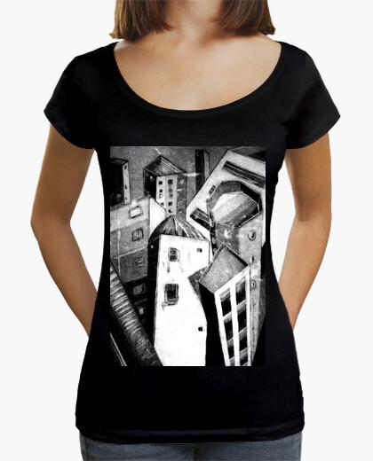 Tee-shirt femme, col large et coupe ample, noir / ville