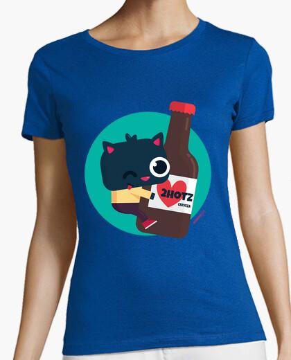 Tee-shirt femme, manche courte - chat avec de la bière 2hotz (différentes couleurs et modèles)