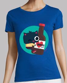 femme, manche courte - chat avec de la bière 2hotz (différentes couleurs et modèles)