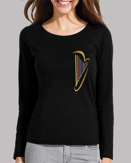 femme, manche longue, harpe noire