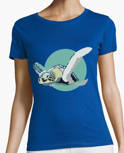 Tee-shirt femme shirt - bleu tortue
